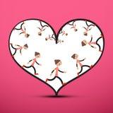 Jogger binnen Hart op Roze Achtergrond stock illustratie