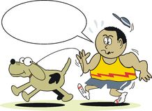 Jogger with dog cartoon. Cartoon of african man jogging with large dog Royalty Free Stock Photo