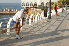 Jogger, Lebanon. A jogger on the waterfront, Beirut, Lebanon Stock Photography