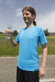 Jogger man with a water bottle Stock Photos