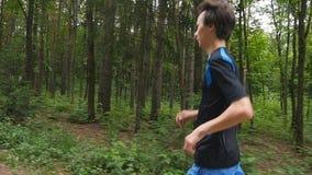 Jogger på en slinga i skogen i ultrarapid arkivfilmer