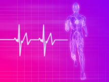 Jogger - pulse. 3d rendered illustration of a transparent jogger with vascular system and heartbeat Stock Photos