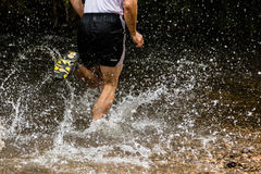 Jogger running through a streambed Stock Photography