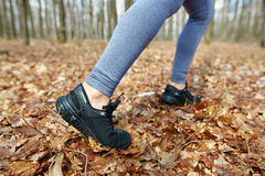 Jogger's feet closeup Royalty Free Stock Image