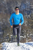 Jogger in sundown. A man jogging in sundown royalty free stock photo