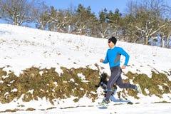 Jogger in sundown. A man jogging in sundown royalty free stock image