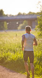 Jogger in sunset Stock Photos