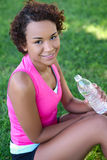 Jogger With Water in Park Stock Image
