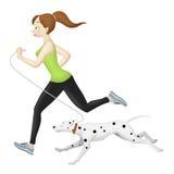 Joggermeisje met Hond Stock Afbeelding