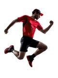 Joggers δρομέων που τρέχουν τις jogging σκιαγραφίες άλματος Στοκ Εικόνες