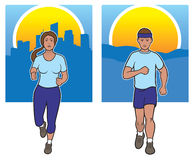 Joggers. Female and male joggers with city and country landscapes in background Royalty Free Stock Photo