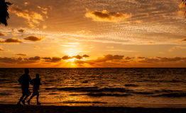 Joggers Silhouette. Joggers on early morning run. Silhouetted against golden sunrise Royalty Free Stock Photography