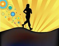 joggersilhouettesolnedgång Arkivbild
