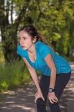 Joggervrouw in openlucht Stock Foto