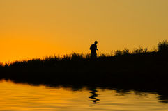 jogging ηλιοβασίλεμα στοκ εικόνες με δικαίωμα ελεύθερης χρήσης