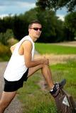 Jogging μέσω των πεδίων στοκ εικόνες