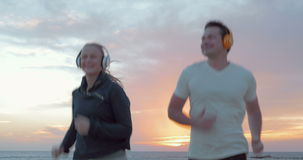 Jogging στη Dawn απόθεμα βίντεο