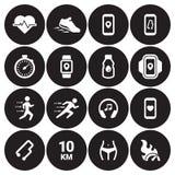 Jogging, бежать установленные значки людей Стоковые Изображения RF