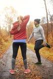 Jogging время во время осени стоковые фотографии rf