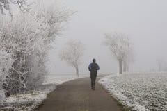 Jogging в тумане зимы Стоковое Изображение