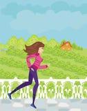 Jogging девушка в сельской местности Стоковые Фотографии RF