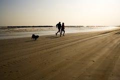 jogging женщина человека совместно Стоковая Фотография