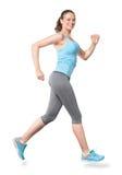 Jogging женщины бежать изолированный на белизне Стоковое Фото