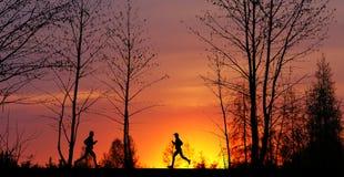 jogging заход солнца Стоковое Изображение