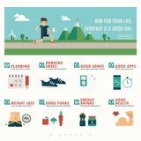 Jogging знамя и infographic иллюстрация штока
