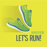 Jogging и бежать значок концепции марафона плоский Стоковое Фото