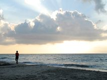 jogging пляжа стоковое фото
