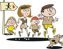 jogging семьи шаржа Стоковые Фото