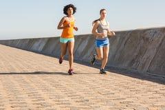 jogging совместно 2 женщины молодой Стоковые Фото