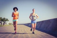 jogging совместно 2 женщины молодой Стоковое Фото