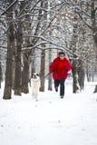Jogging с собакой Стоковое Фото