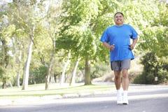 Ανώτερο ισπανικό άτομο Jogging στο πάρκο Στοκ εικόνες με δικαίωμα ελεύθερης χρήσης