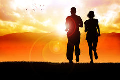 Jogging. Silhouette illustration of couples jogging in the morning Royalty Free Stock Images