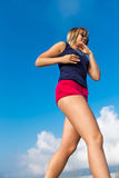 Jogging against the sky Stock Image