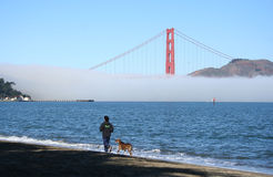 Jogging along the beach with dog Royalty Free Stock Images
