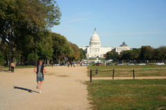 Jogging along the mall Stock Photos
