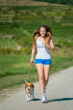 Jogging with animal friend Royalty Free Stock Photography