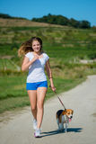 Jogging with animal friend Royalty Free Stock Photos