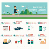 Jogging banner and infographic stock illustration