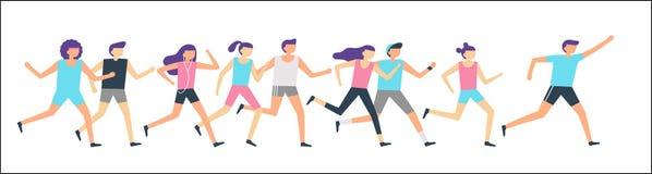 Jogging biegacz grupa Ranku bieg, dorosli ludzie trenuje sporta bieg i plenerowego jog Sprawność fizyczna biegacza mieszkania wek ilustracji