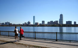 Jogging with Boston skyline Stock Photo