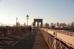 Jogging on Brooklyn Bridge Stock Photos