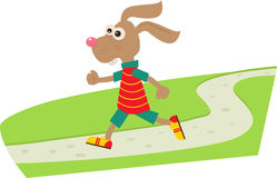 Jogging Bunny. A cartoon bunny on his daily jog. Eps10 Royalty Free Stock Photography