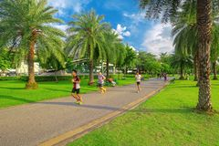 Jogging in Chatuchak Park stock photo