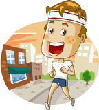 Jogging in the city. Detailed vector illustration Royalty Free Stock Images