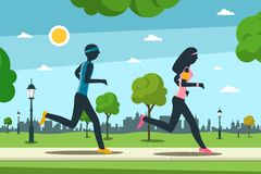 Jogging in City park. Man and Woman Running. Activity and Healthy Lifestyle Vector Concept royalty free illustration